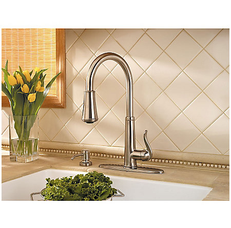 Brushed Nickel Ashfield 1-Handle, Pull-Down Kitchen Faucet - GT529-YPK - 5