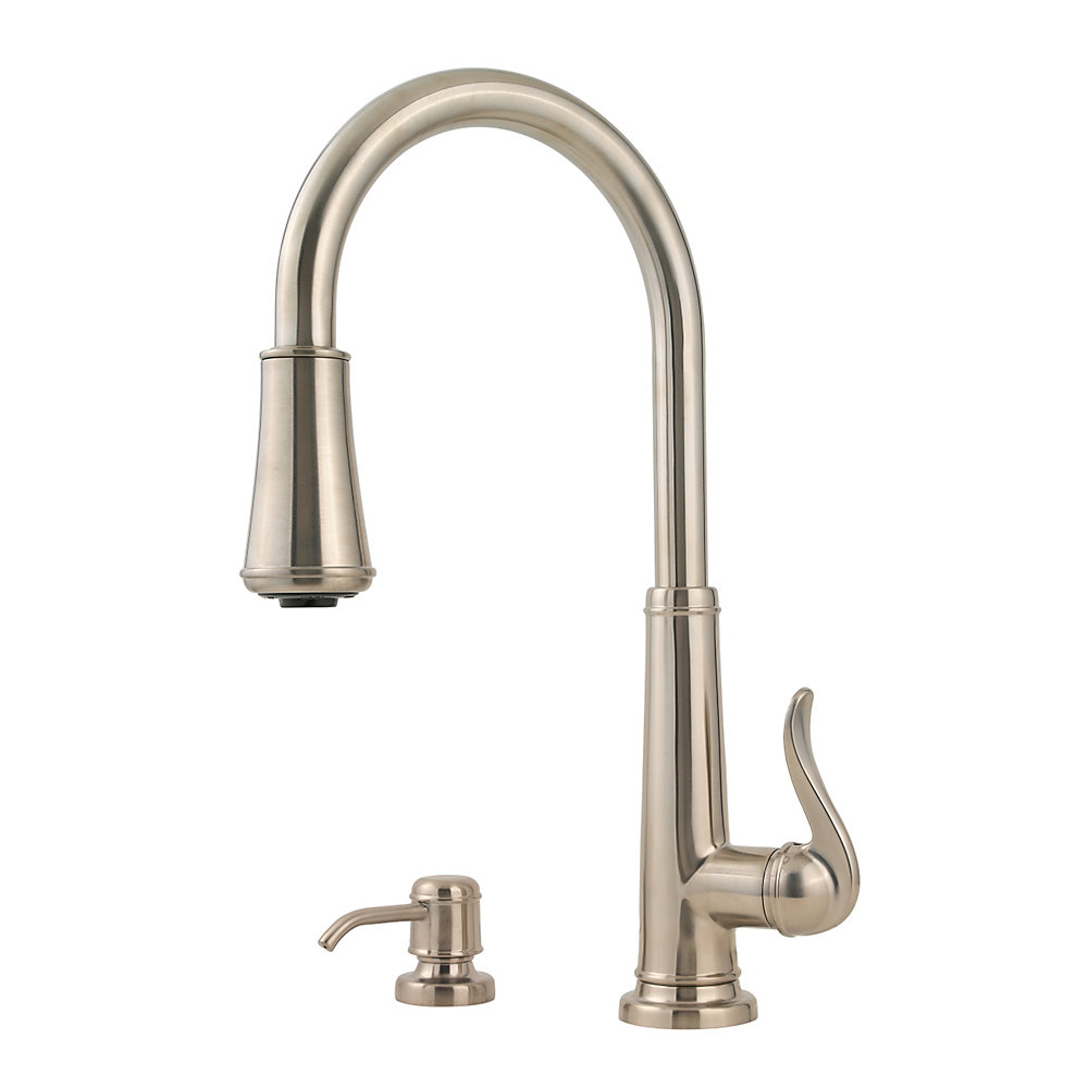 awesome Price Pfister Ashfield Kitchen Faucet #1: brushed nickel ashfield 1-handle, pull-down kitchen faucet - gt529-ypk