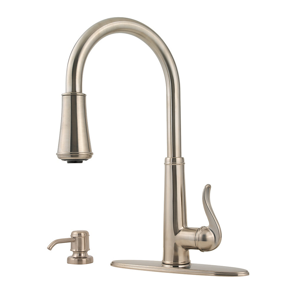 charming Pfister Ashfield Kitchen Faucet #3: Brushed Nickel Ashfield 1-Handle, Pull-Down Kitchen Faucet - GT529-YPK
