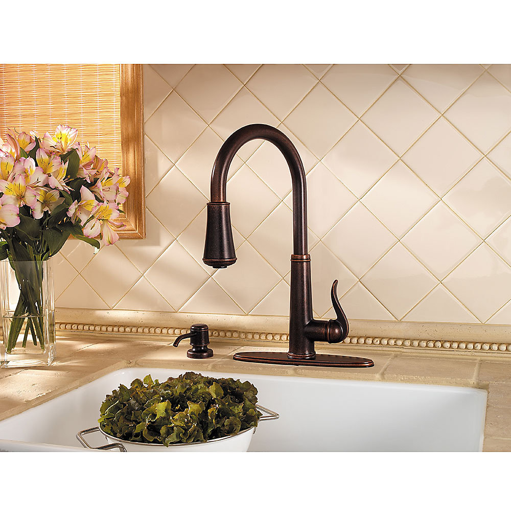 Rustic Bronze Ashfield 1-Handle, Pull-Down Kitchen Faucet - GT529 ...