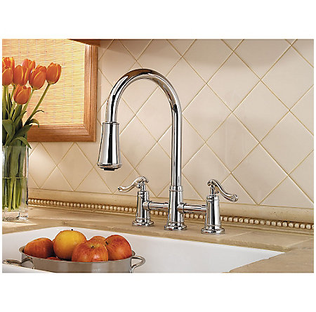Polished Chrome Ashfield 2-Handle, Pull-Down Kitchen Faucet - GT531-YPC - 2