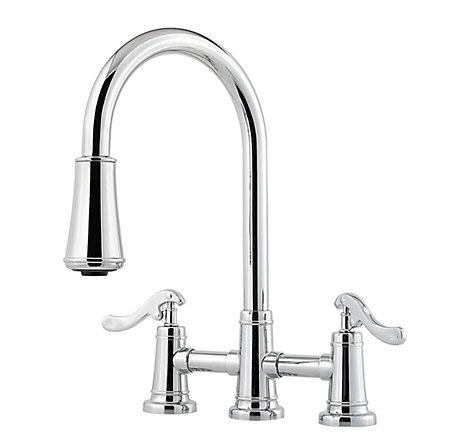 Polished Chrome Ashfield 2-Handle, Pull-Down Kitchen Faucet - LG531-YPC - 1