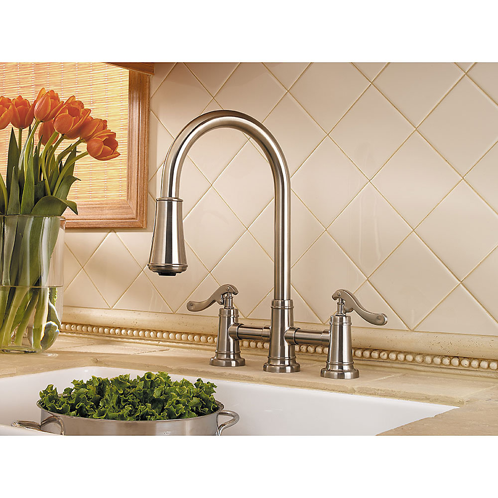 delightful Pfister Ashfield Kitchen Faucet #6: Brushed Nickel Ashfield 2-Handle, Pull-Down Kitchen Faucet - GT531-YPK