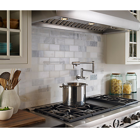 Stainless Steel Lita Wall Mount Pot Filler Gt533 Pfs Pfister Faucets