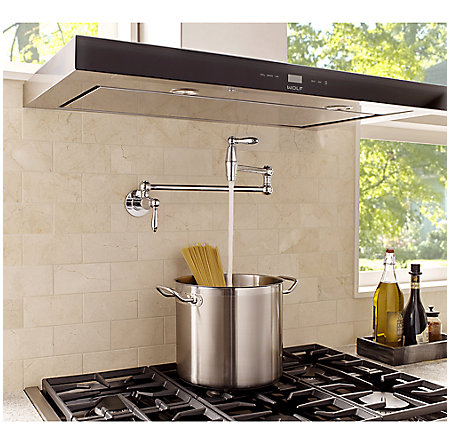 Polished Chrome Port Haven Wall Mount Pot Filler - GT533-TDC - 3