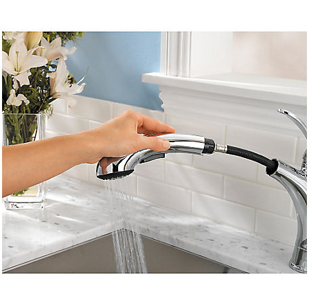 Polished Chrome Clairmont 1-Handle, Pull-Out Kitchen Faucet - GT534-CMC - 6