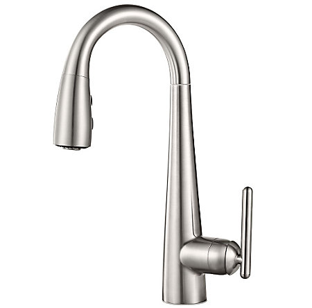 Stainless Steel Lita 1 Handle Pull Down Bar and Prep Faucet - GT72-SMSS - 1