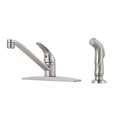Stainless Steel Job Pack Pfirst Series 1-Handle Kitchen Faucet - J134-444S - 1