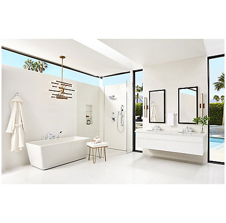Polished Chrome Kenzo 4-Hole Roman Tub With Handshower, Trim Only - RT6-4D1C - 4