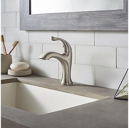 Brushed Nickel Elden Single Control, Centerset Bath Faucet - LF-042-EDKK - 3