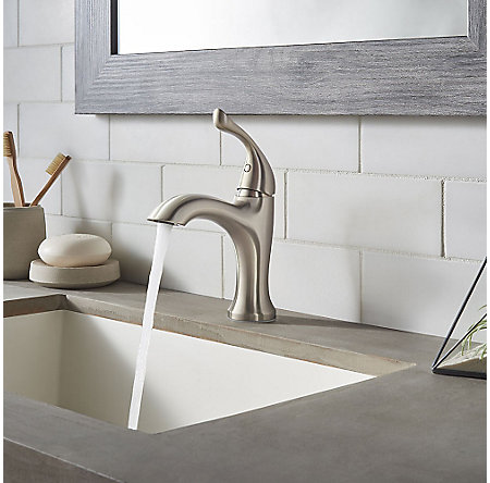 Brushed Nickel Elden Single Control, Centerset Bath Faucet - LF-042-EDKK - 4