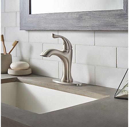 Brushed Nickel Elden Single Control, Centerset Bath Faucet - LF-042-EDKK - 5