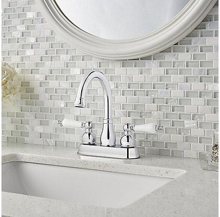 Polished Chrome / White Henlow Centerset Bath Faucet - LF-048-HECC - 2