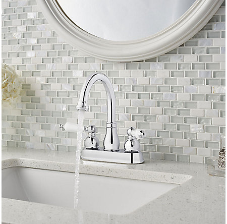 Polished Chrome / White Henlow Centerset Bath Faucet - LF-048-HECC - 3