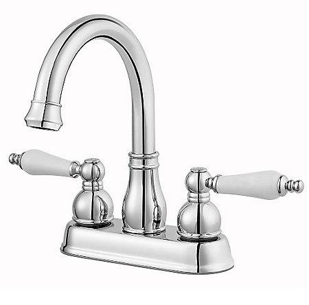Polished Chrome / White Henlow Centerset Bath Faucet - LF-048-HECC - 1
