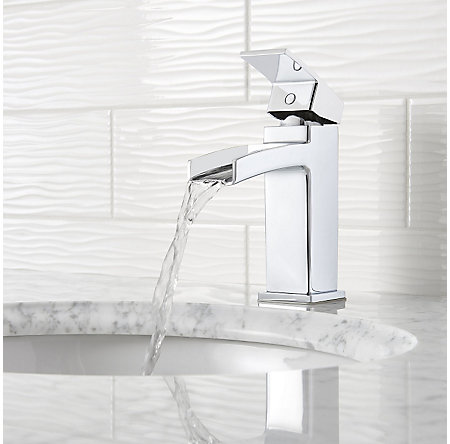 Polished Chrome Kenzo Single Control, Trough Bath Faucet - LG42-DF0C - 4