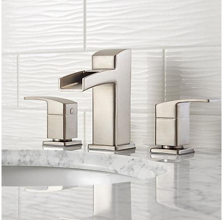 Brushed Nickel Kenzo Widespread Trough Bath Faucet - LG49-DF0K - 2