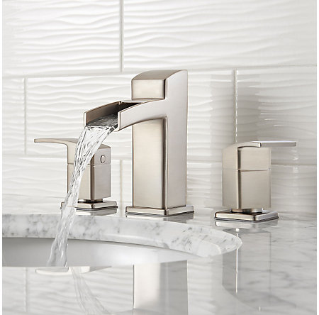 Brushed Nickel Kenzo Widespread Trough Bath Faucet - LG49-DF0K - 3