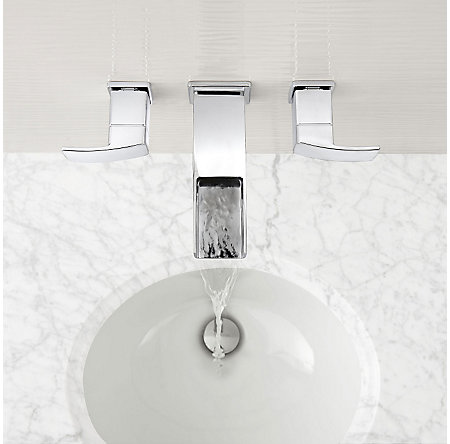 Polished Chrome Kenzo Wall Mount Widespread Trough Bath Faucet - LG49-DF1C - 3