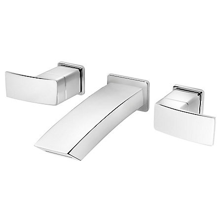 Polished Chrome Kenzo Wall Mount Widespread Bath Faucet - LG49-DF3C - 1