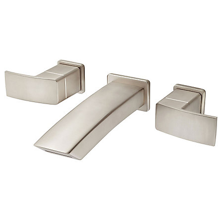 Brushed Nickel Kenzo Wall Mount Widespread Bath Faucet - LG49-DF3K - 1