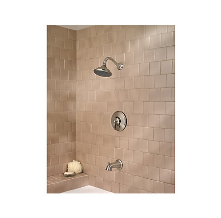 Brushed Nickel Langston 1-Handle Tub and Shower, Complete with Valve - MP8-LNKK - 2