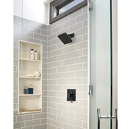 Black Kenzo 1-Handle Shower, Trim Only - R89-7DFB - 2