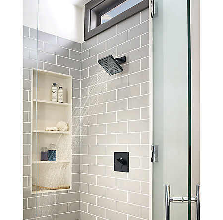 Black Kenzo 1-Handle Shower, Trim Only - R89-7DFB - 3