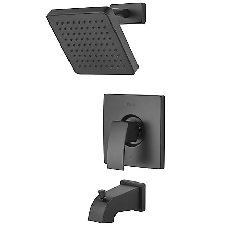 Black Kenzo 1-Handle Tub & Shower, Trim Only - R89-8DFB - 1