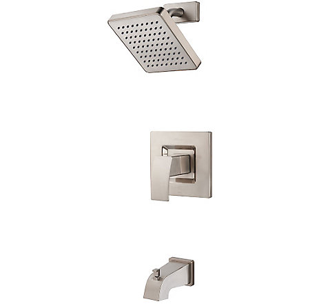 Brushed Nickel Kenzo Tub & Shower Combo - R89-8DFK - 1