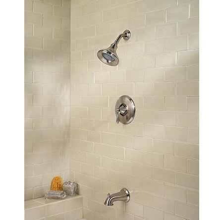brushed nickel portola tub & shower combo - r89-8rpk - 2