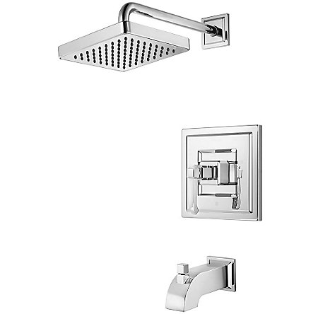 polished chrome carnegie tub & shower combo - r89-8wec - 1