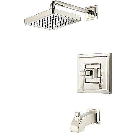 Polished Nickel Carnegie 1-Handle Tub & Shower, Trim Only - R89-8WED - 1