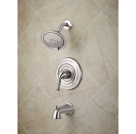 Brushed Stainless Steel Universal Tub and Shower - Trim Only - R90-TD1K - 2