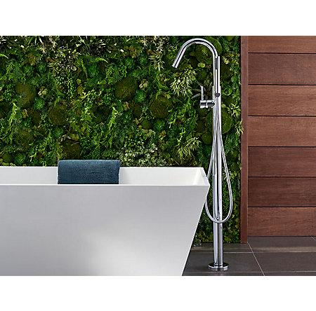 Polished Chrome Modern Free Standing Tub Filler - RT6-1MFC - 3