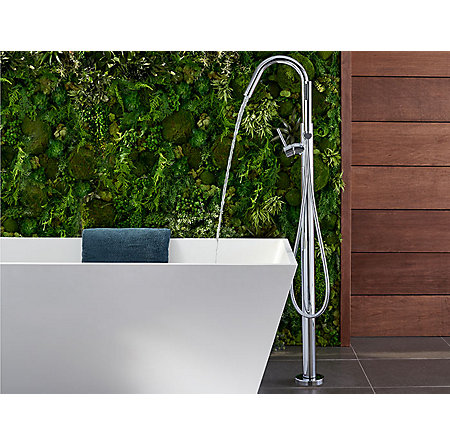Polished Chrome Modern Free Standing Tub Filler - RT6-1MFC - 4