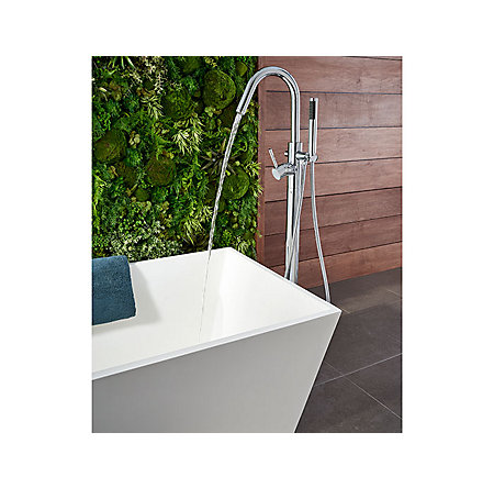 Polished Chrome Modern Free Standing Tub Filler - RT6-1MFC - 6