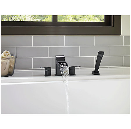 Black Kenzo 4-Hole Trough Roman Tub with Handshower, Trim Only - RT6-4DFB - 3