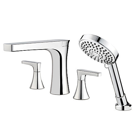 Polished Chrome Kelen 4-Hole Roman Tub with Handshower, Trim Only - RT6-4MFC - 1