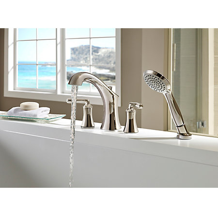 Polished Nickel Iyla 4-Hole Roman Tub with Handshower, Trim Only - RT6-4TRD - 3