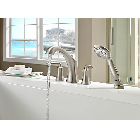 Brushed Nickel Iyla 4-Hole Roman Tub with Handshower, Trim Only - RT6-4TRK - 3