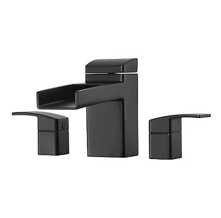 Black Kenzo 3-Hole Trough Roman Tub, Trim Only - RT6-5DFB - 1