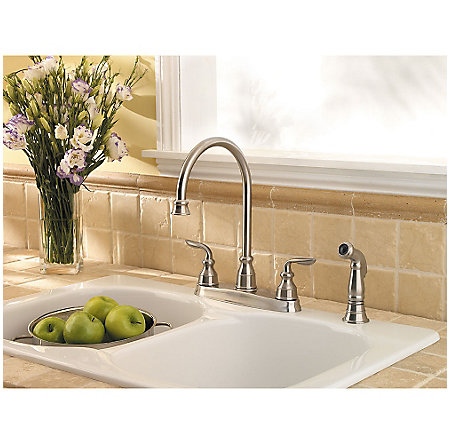 stainless steel avalon 2-handle kitchen faucet - gt36-4cbs - 6