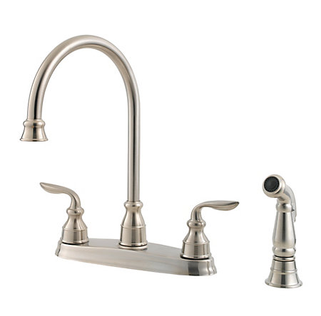 stainless steel avalon 2-handle kitchen faucet - gt36-4cbs - 4