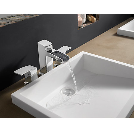 Polished Chrome Kenzo Widespread Bath Faucet - T49-DF0C - 2