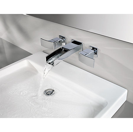 Polished Chrome Kenzo Wall Mount Widespread Trough Bath Faucet - T49-DF1C - 2