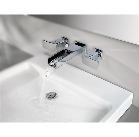 Polished Chrome Kenzo Wall Mount Widespread Trough Bath Faucet - T49-DF1C - 3