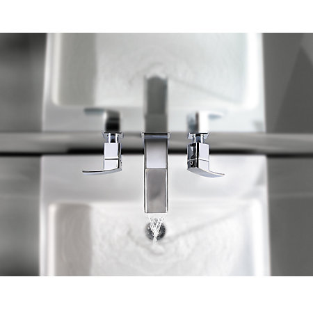 Polished Chrome Kenzo Wall Mount Widespread Trough Bath Faucet - T49-DF1C - 5