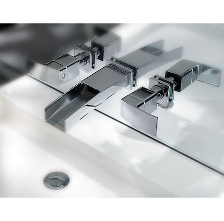 Polished Chrome Kenzo Wall Mount Widespread Trough Bath Faucet - T49-DF1C - 7