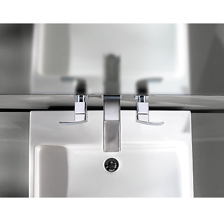 Polished Chrome Kenzo Wall Mount Widespread Trough Bath Faucet - T49-DF1C - 9